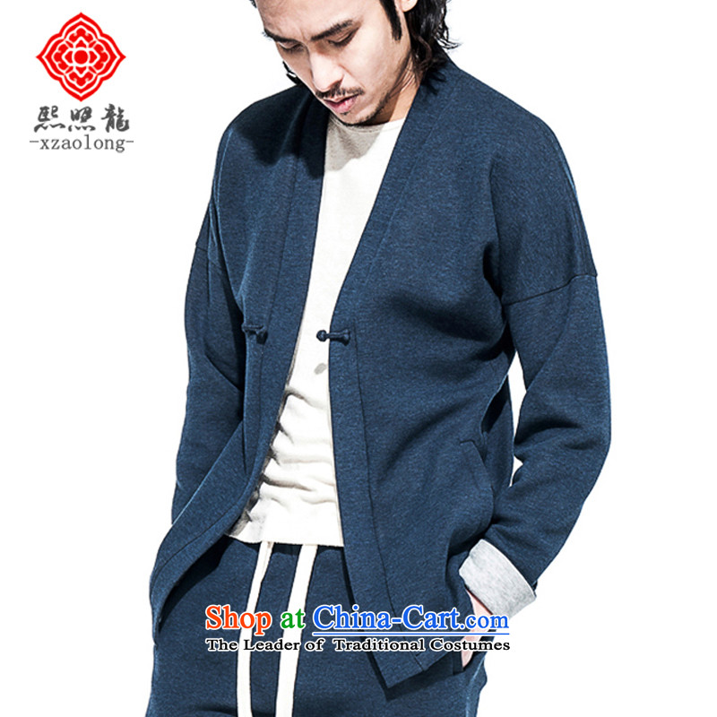 Hee-Yong-nam, a snapshot of the disk-han-chinese sports and leisure improved Tang China Wind Jacket Air Layer Shirt retro blue�XL