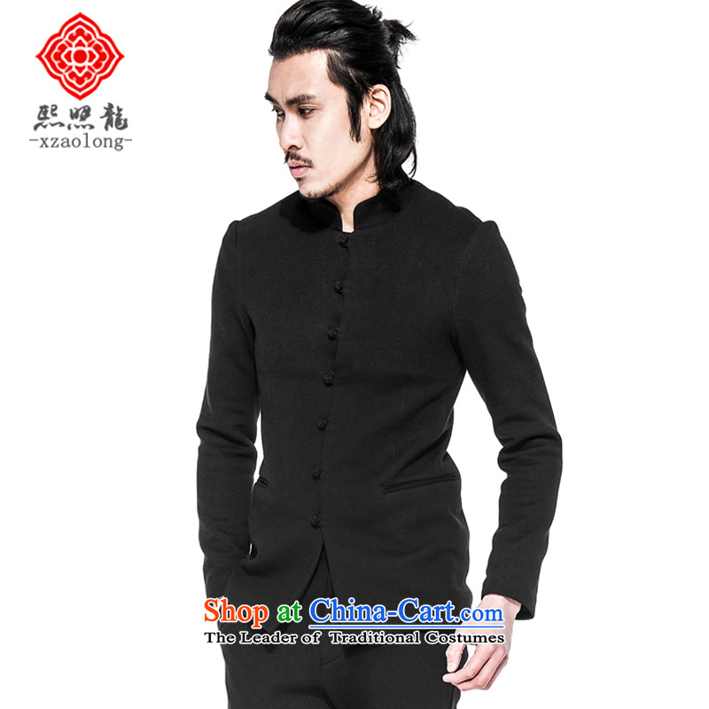Hee-Snapshot Lung Men fall Chinese collar Chinese tunic improved Sau San Tong installed China wind jacket is cotton space black�L