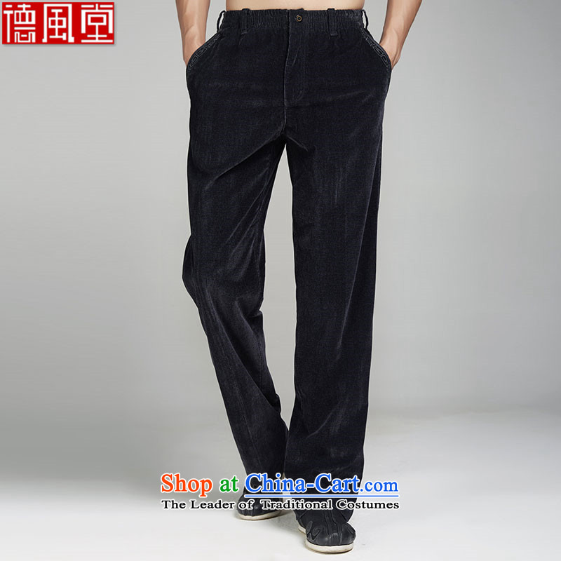 Fudo de Teng Yun聽2015 upscale male Tang dynasty winter pants polyamide embroidery China wind-Business Edition Men black聽46_L