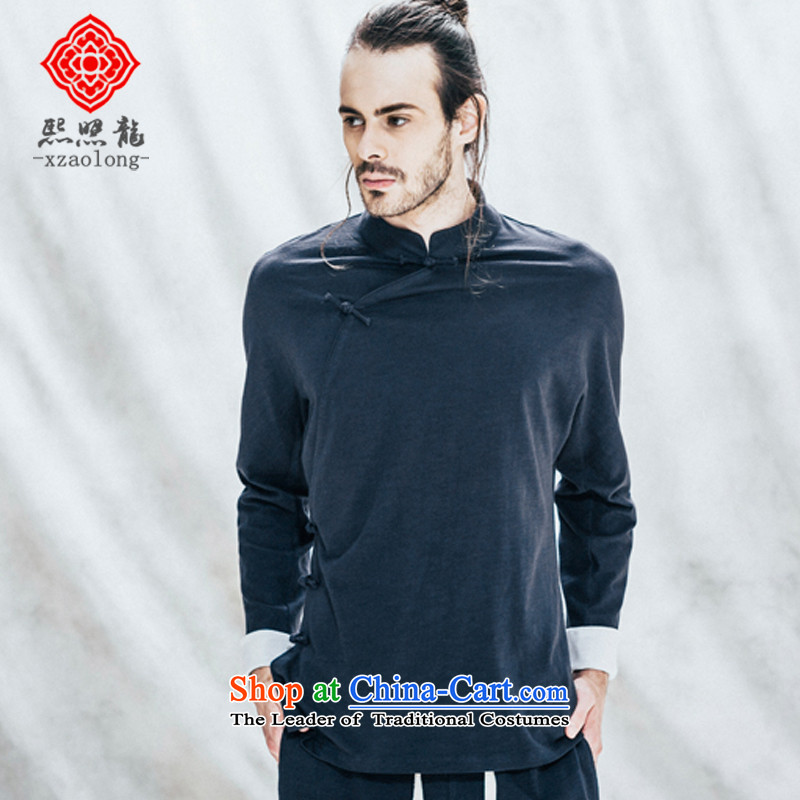 Hee-Yong-nam, a snapshot of the Tang dynasty retro collar China wind long-sleeved T-shirt is pressed to low knitting improved Han-men's jackets blue燲L