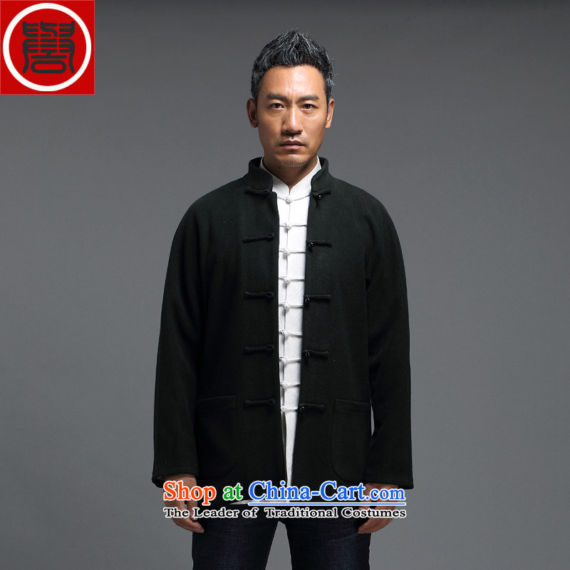 Renowned for autumn and winter 2015 New China wind male Tang Dynasty Chinese long-sleeved improved China wind ball-Tang Dynasty to the black燲XXL