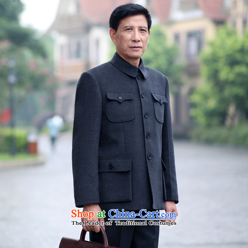 2015 Autumn Love Song new father jacket in older men lapel Chinese tunic jacket older persons kit black and gray聽170