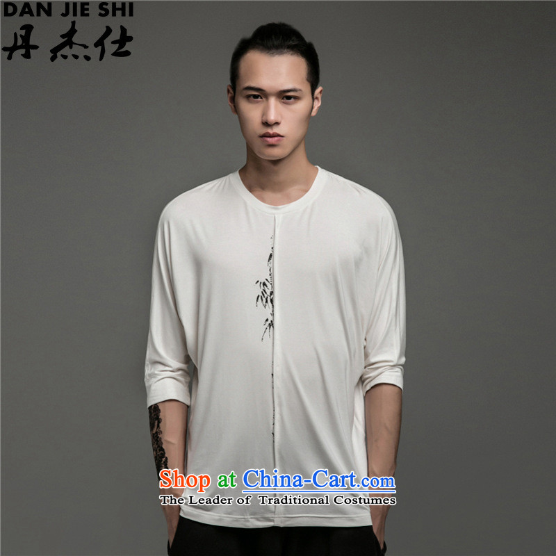 Dan Jie Shi China wind retro modal round-neck collar Zen Chinese Sau San Tong Yi casual fifth in the autumn thin cuff cuff men White�XL