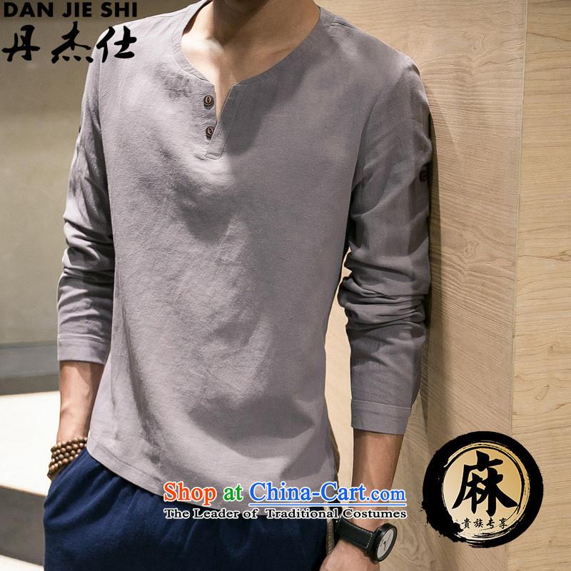 Dan Jie Shi Autumn Chinese wind long-sleeved T-shirt and cotton linen Chinese V-neck shirt national retro, forming the basis of men large flows of Sau San Kit black聽5XL// can click Buy, Dan Jie Shi (DANJIESHI) , , , shopping on the Internet