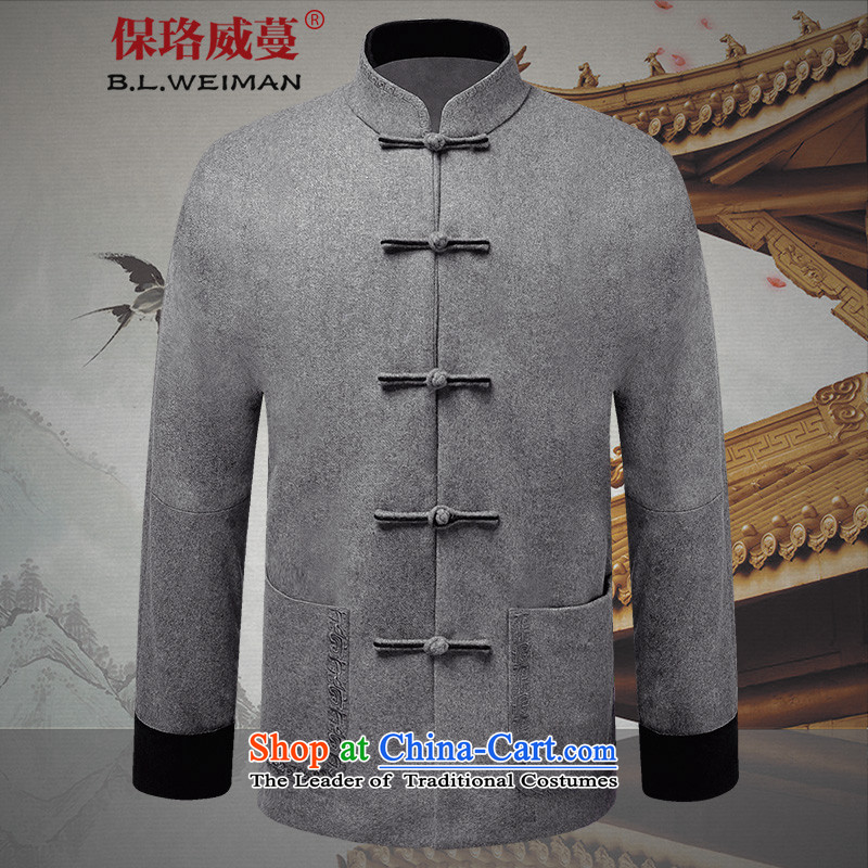 The Lhoba nationality Wei Mephidross warranty autumn and winter men wool coat jacket coat in this older Tang dynasty China wind up with light gray dad detained 50