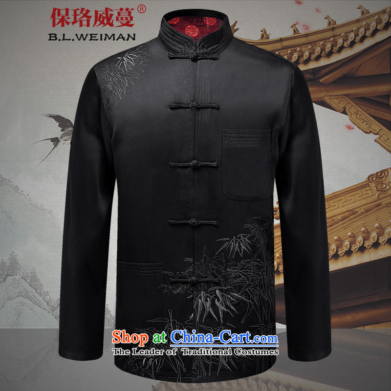 The Lhoba nationality Wei Overgrown Tomb fall under Tang dynasty in older long sleeve jacket coat Chinese name side solid color T-shirt father pack Black�