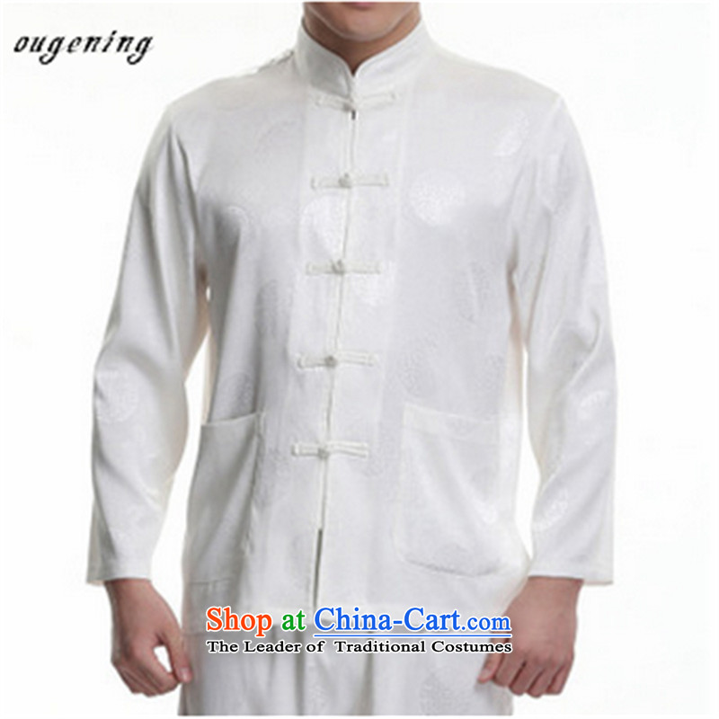 The name of the 2015 autumn of the OSCE new middle-aged men China wind Tang Dynasty Package leisure father long-sleeved shirt with the elderly in the Tang dynasty white聽180