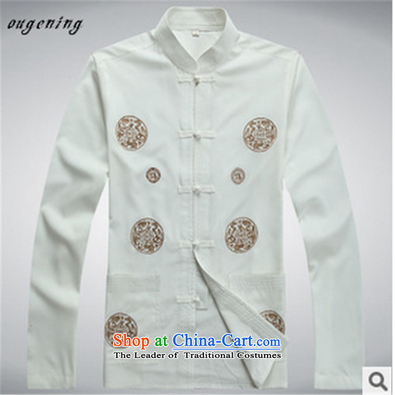 The name of the 2015 autumn of the OSCE New China wind in Tang Dynasty Chinese leisure older Long-Sleeve Shirt collar with Grandpa Load Dad White聽190