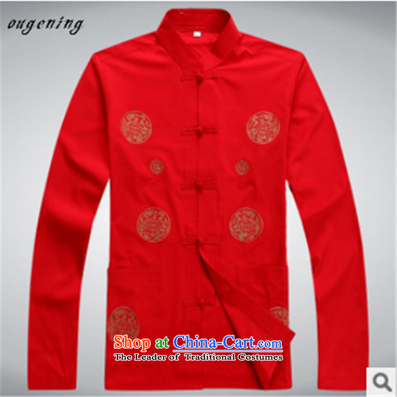 The name of the 2015 autumn of the OSCE New China wind in Tang Dynasty Chinese leisure older Long-Sleeve Shirt collar with Grandpa load dad聽190, Europe of white kaffir lime (ougening) , , , shopping on the Internet
