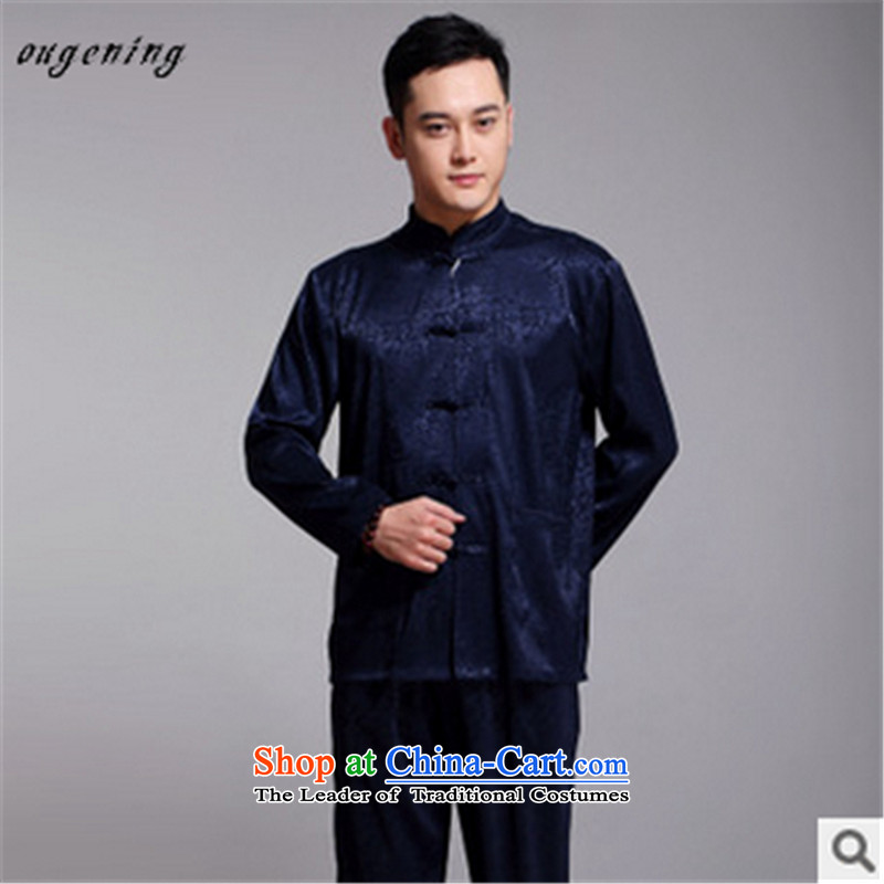 The name of the 2015 autumn of the OSCE new men in older ethnic Chinese Han-Tang dynasty l shirt Kit replacing Tang dynasty grandfather father Blue聽180