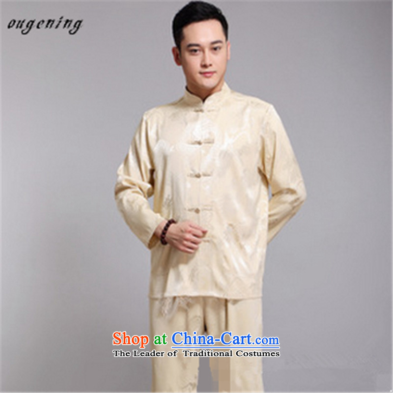 The name of the 2015 autumn of the OSCE new boxed older men long-sleeved shirt Tang Dynasty Chinese shirt birthdays Dress Casual Grandpa China wind beige聽185