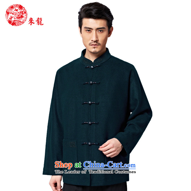 To Tang Dynasty Dragon�2015 autumn and winter New China wind men wool coat�15,561 detained tray�blue-green blue-green�46