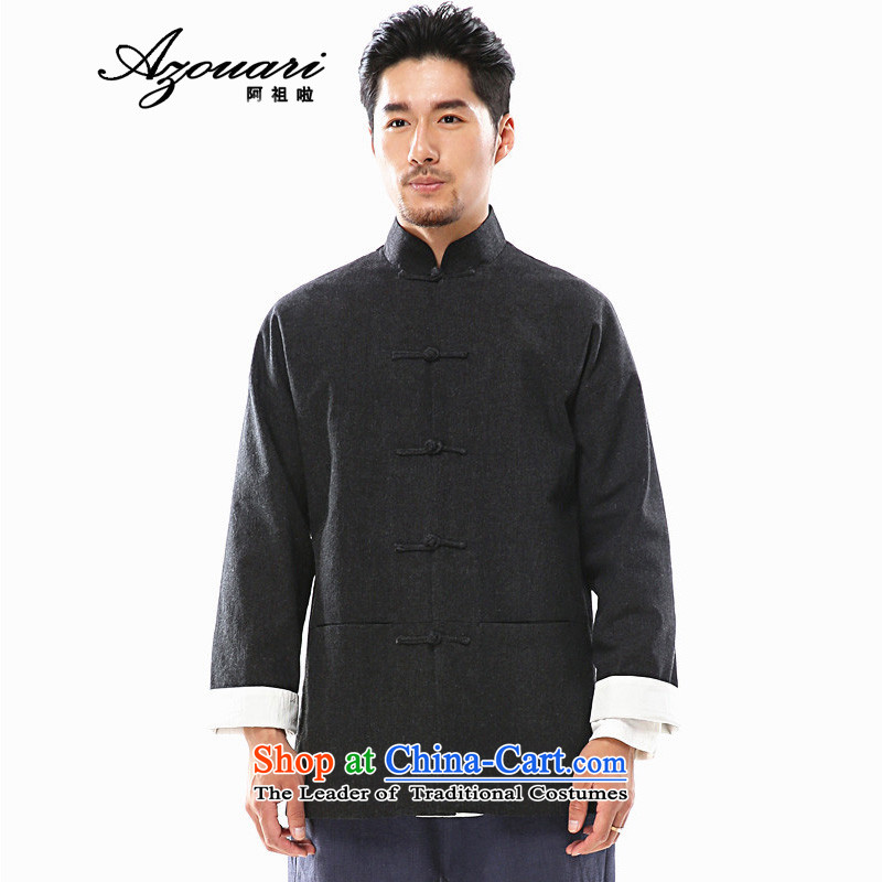 Azzu defense (azouari) China wind of autumn and winter men long-sleeved jacket Tang detained disc Chinese linen men Han-black L