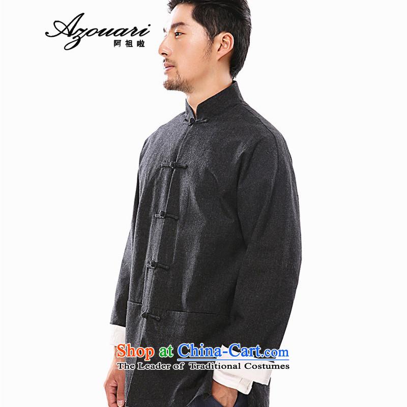 Azzu defense (azouari) China wind of autumn and winter men long-sleeved jacket Tang detained disc Chinese linen men Han-black聽, L (AZOUARI azzu) , , , shopping on the Internet