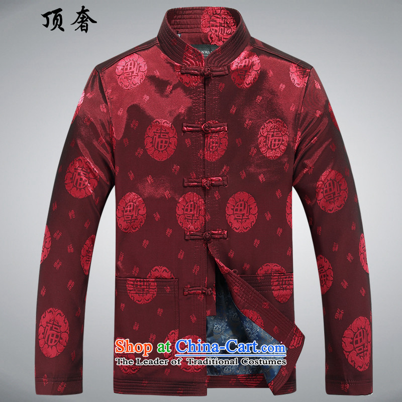 Top聽15 luxury, in spring and autumn new older men long-sleeved jacket loose version father red middle-aged man Tang dynasty during the spring and autumn jacket coat Red聽190
