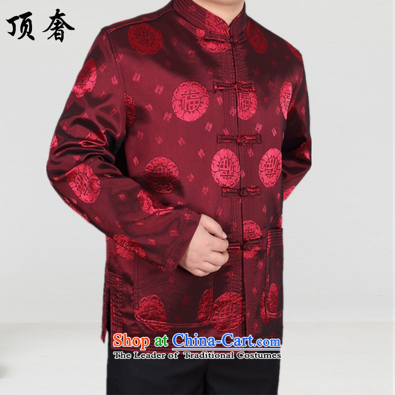 Top Luxury men of older persons in the Tang dynasty during the spring and autumn long-sleeved jacket Tang Chinese Han-long-sleeved sweater men well field red)聽190, father top luxury shopping on the Internet has been pressed.