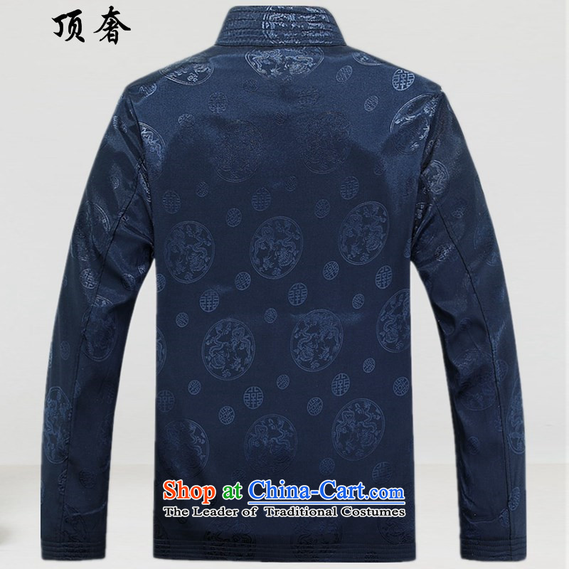Top Luxury new man jacket thickness of Tang Chun-jacket in elderly men Chinese clothing China wind round lung national costumes loose version of large blue T-shirt,聽190, code top luxury shopping on the Internet has been pressed.