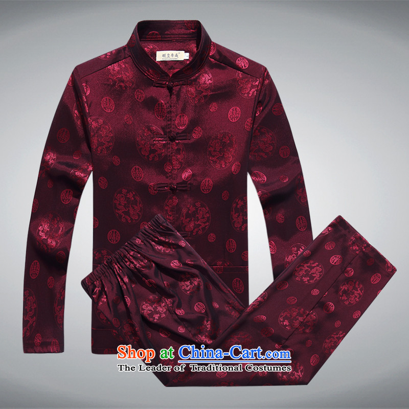 Ming Emperor Wei 2015 new men in Tang Dynasty older China wind load grandfather load Dad Chinese ethnic traditional disk detained leisure wears the happy with trouser press circle Dragon Red�0
