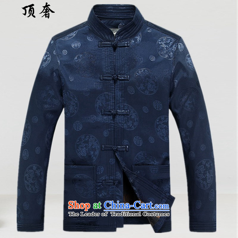 Top Luxury Tang dynasty in Tang Dynasty older men and the spring and autumn long sleeve jacket coat large Chinese tunic father elders birthday gift Dark Blue 180