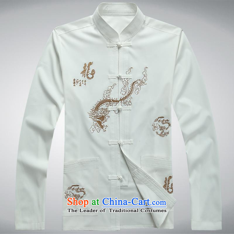 The Chinese Tang dynasty package Mock-neck Chinese tunic men exercise clothing tai chi long sleeved shirt with white?180XXL services