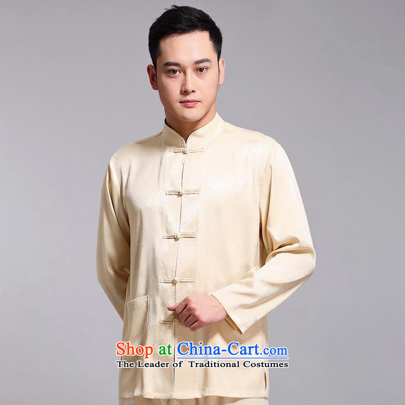Tang Dynasty Men long-sleeved kit autumn and winter new products men cotton linen collar Chinese tunic of older Tang Dynasty Package Boxed 1518 Yellow father 185XXXL Kit
