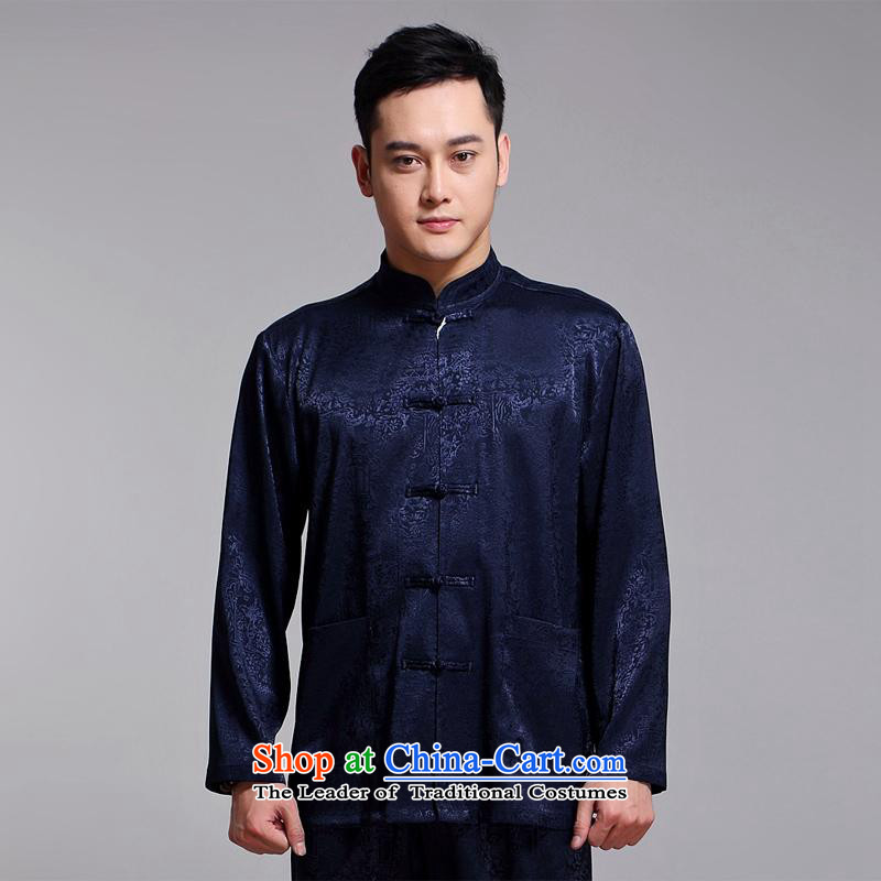 Tang Dynasty Men long-sleeved kit autumn and winter new products men cotton linen collar Chinese tunic of older Tang Dynasty Package Boxed 1518 Yellow DAD package the Van Gogh hash (185XXXL, MUFONCE) , , , shopping on the Internet