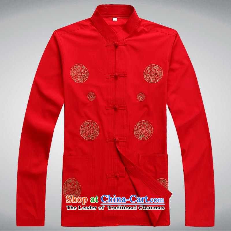 The Chinese Tang dynasty Sau San collar autumn and winter long-sleeved exercise clothing tai chi services jogs older red�185XXXL services
