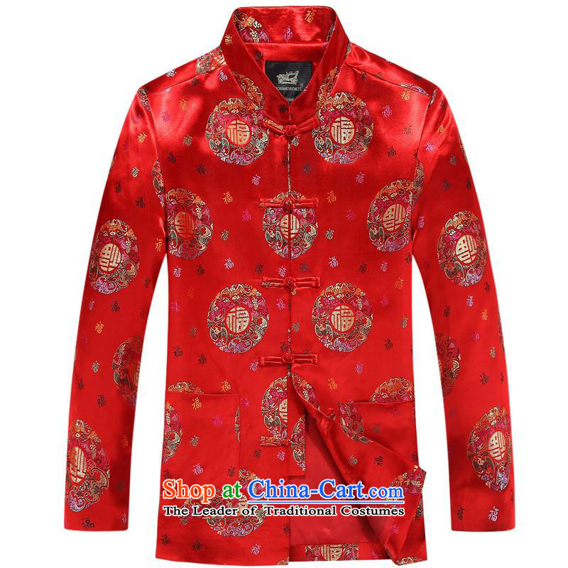The new Chinese collar Tang Dynasty Package in Chinese tunic of older players to exercise clothing�175XL red