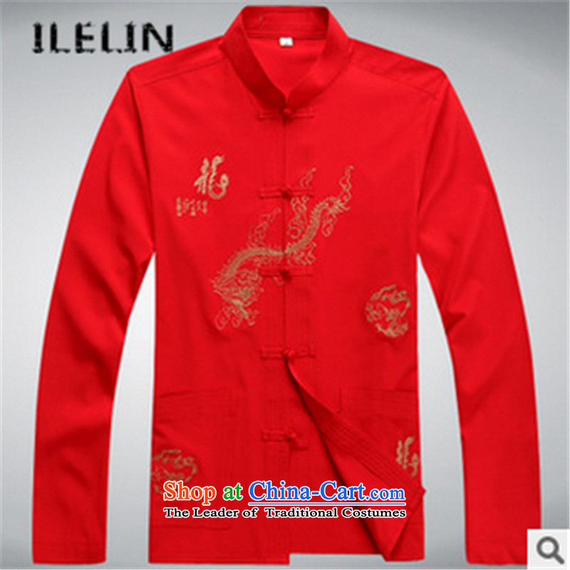 The Fall of man ILELIN2015 kit casual shirt retro in older men l relaxd the Yi China wind Red聽190