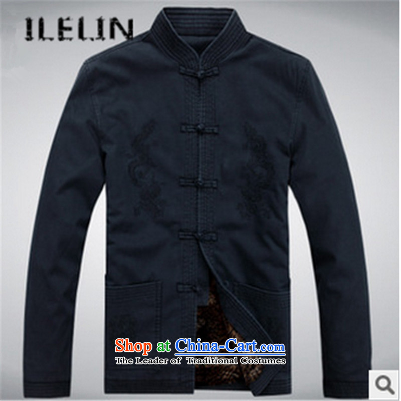 The fall of new ILELIN2015 Pure Cotton Men the Tang dynasty, lint-free long-sleeved sweater in older Chinese clothing Chinese Men's Mock-Neck jacket dark blue cotton plus聽180