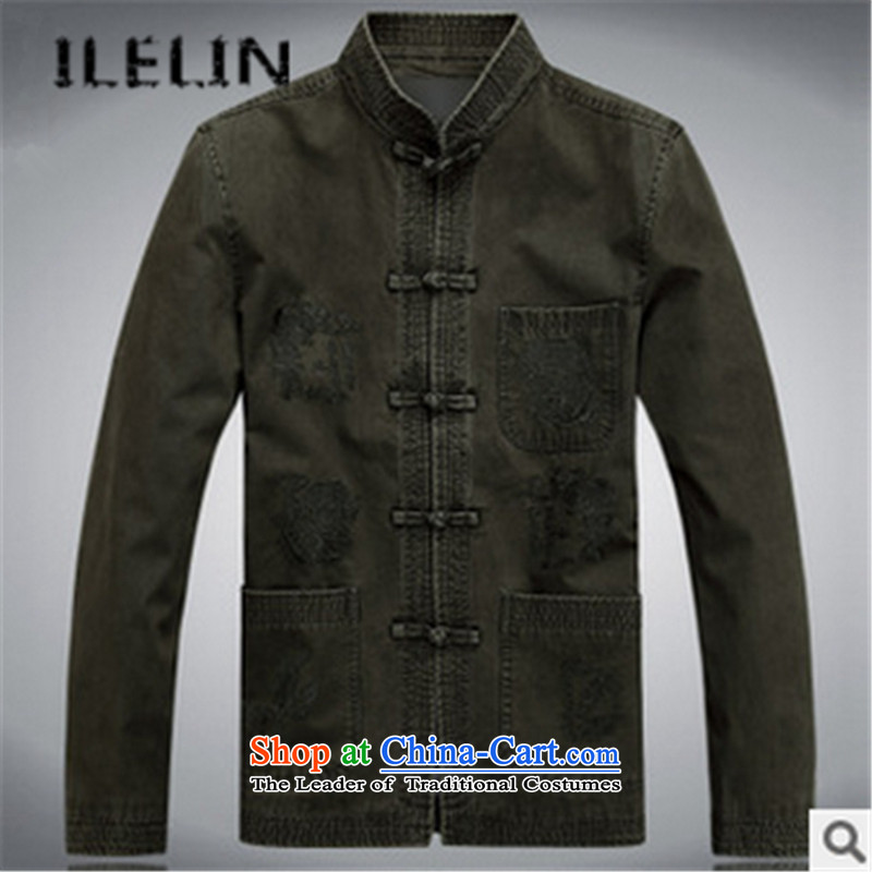 The fall of new ILELIN2015 Pure Cotton Men the Tang dynasty, lint-free long-sleeved sweater in older Chinese clothing Chinese Men's Mock-Neck jacket dark blue cotton聽180,ILELIN,,, plus Online Shopping