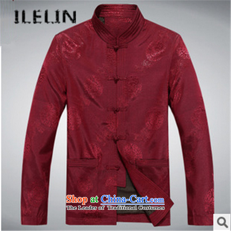 The fall in the new ILELIN2015 older men Tang Gown long sleeve jacket coat Chinese collar leisure father replacing Tang dynasty retro Red�0