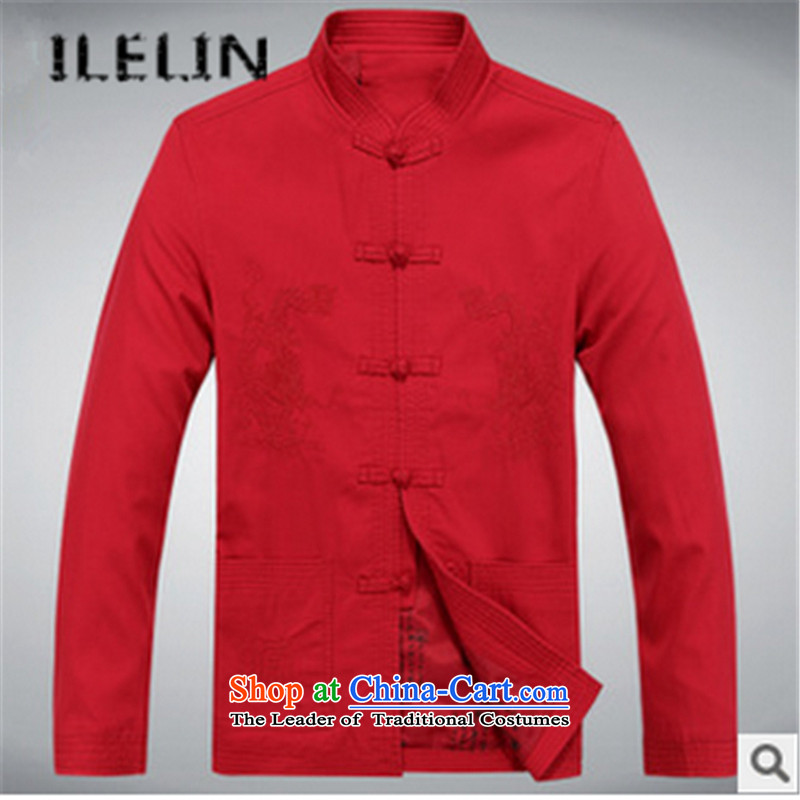 The fall in the new ILELIN2015 older men Tang Gown long sleeve jacket coat Chinese collar leisure father replacing Tang Red聽180,ILELIN,,, antique shopping on the Internet