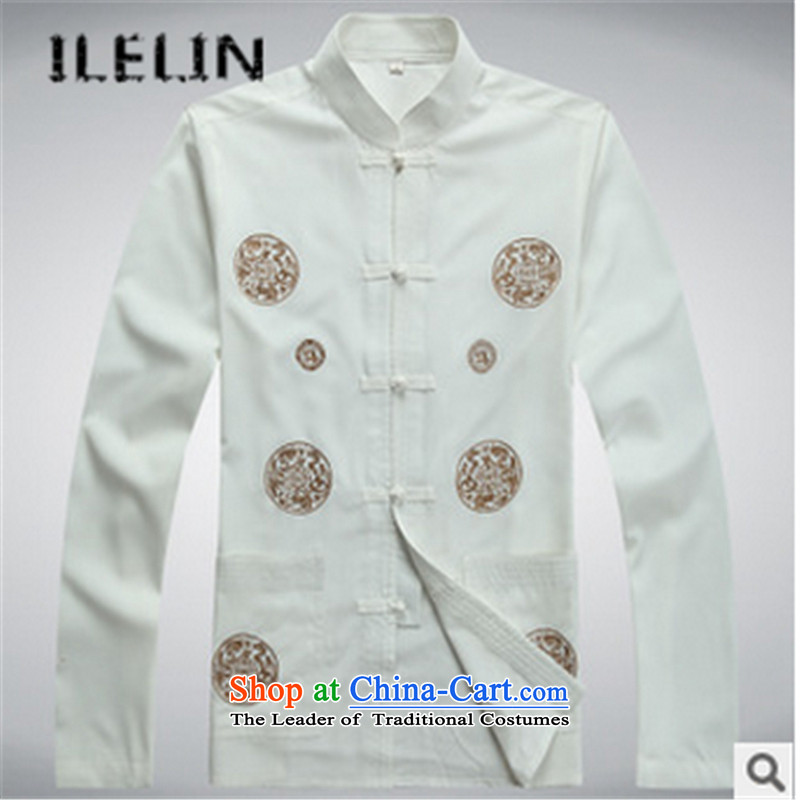 The fall in the new ILELIN2015 older Tang Dynasty Package men wearing casual male father Chinese Antique long-sleeved shirt large loose white�180