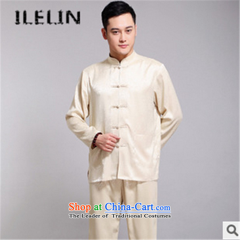 The fall of the new retro ILELIN2015 China wind in older Chinese Han-Tang dynasty and long-sleeved clothing with father kit beige�180