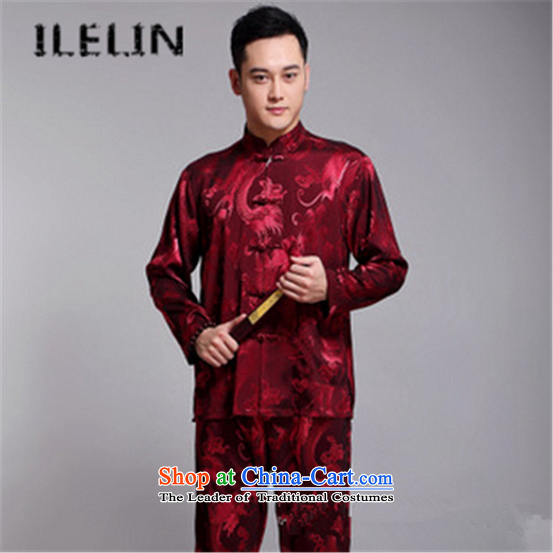 The fall in the new ILELIN2015 older men long-sleeved shirt older persons Tang dynasty birthdays dress China wind retro Grandpa Red聽190