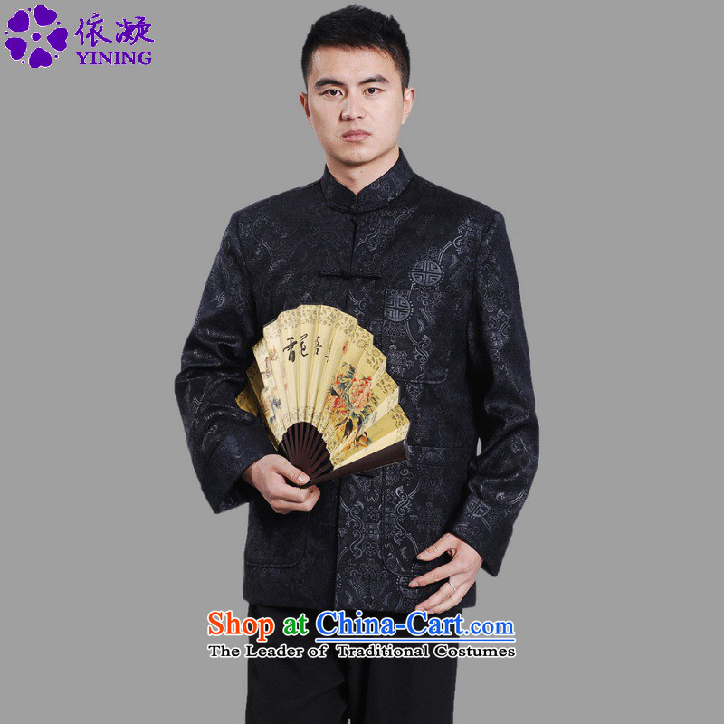 In accordance with the fuser retro ethnic Chinese improved collar suit single row detained father replacing Tang jackets燣gd_m0043_ -A DARK BLUE�L