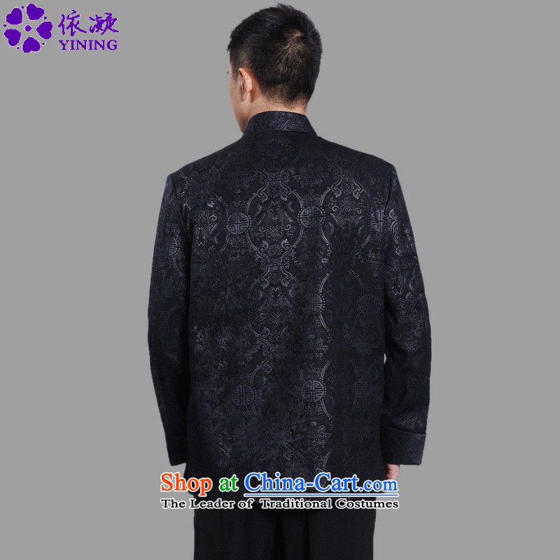 In accordance with the fuser retro ethnic Chinese improved collar suit single row detained father replacing Tang jackets聽Lgd/m0043# -A dark blue聽gel to , , , 3XL, shopping on the Internet