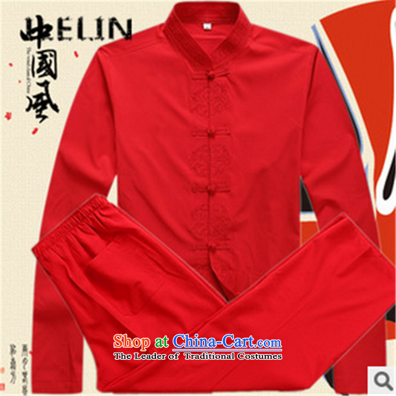 The fall of new ILELIN2015 Men long-sleeved father in Tang Dynasty older grandfather autumn T-shirts older persons China wind Kit Red聽180