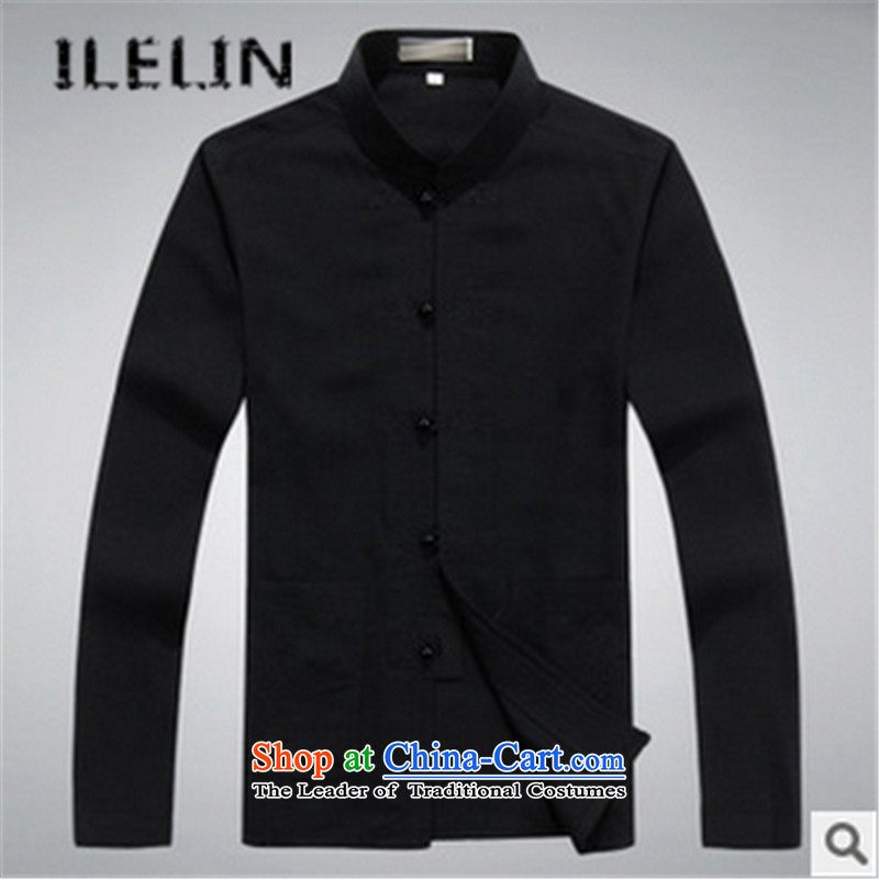 The fall of the new Tang ILELIN2015 replacing men in autumn of older persons and long-sleeved shirt with Grandpa Chinese shirt father loose Kit Black聽175