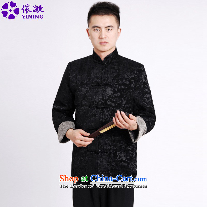 In accordance with the fuser autumn and winter stylish new ethnic Chinese improvement of nostalgia for the elderly in the stitching father load suit Tang jackets聽Lgd_m0036_ -A Black聽XL