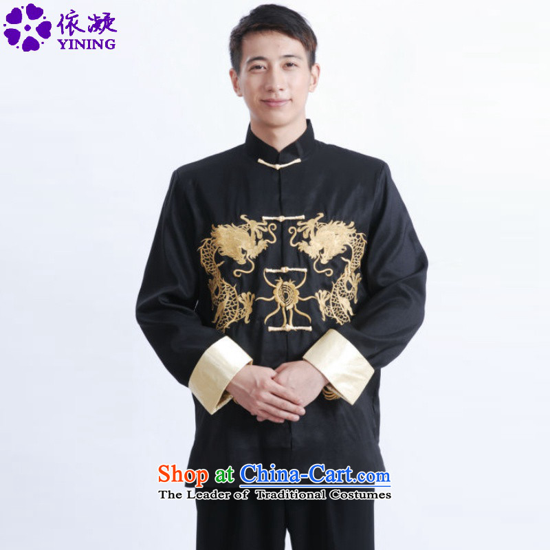 In accordance with the old fuser men retro ethnic Men's Mock-Neck Shirt embroidered with Father Tang jackets�LGD/M1011#�black�L