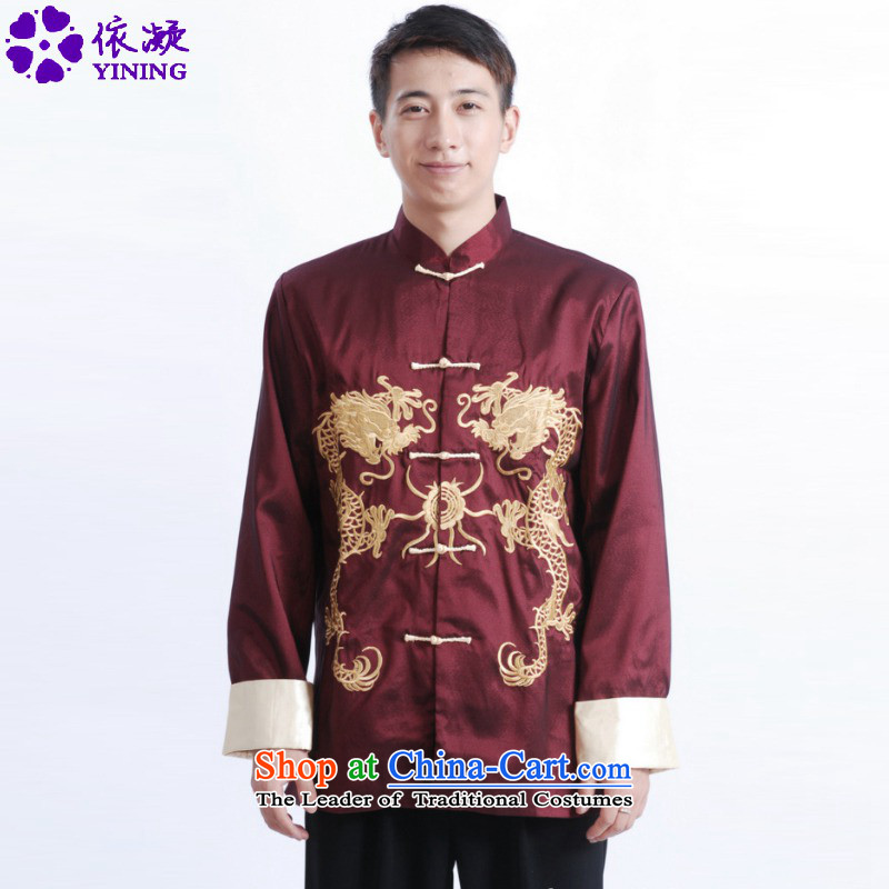 In accordance with the fuser retro ethnic Chinese long-sleeved shirt improved Men's Mock-Neck Ssangyong embroidery in older father replacing Tang jackets聽LGD_M1013_聽wine red聽2XL
