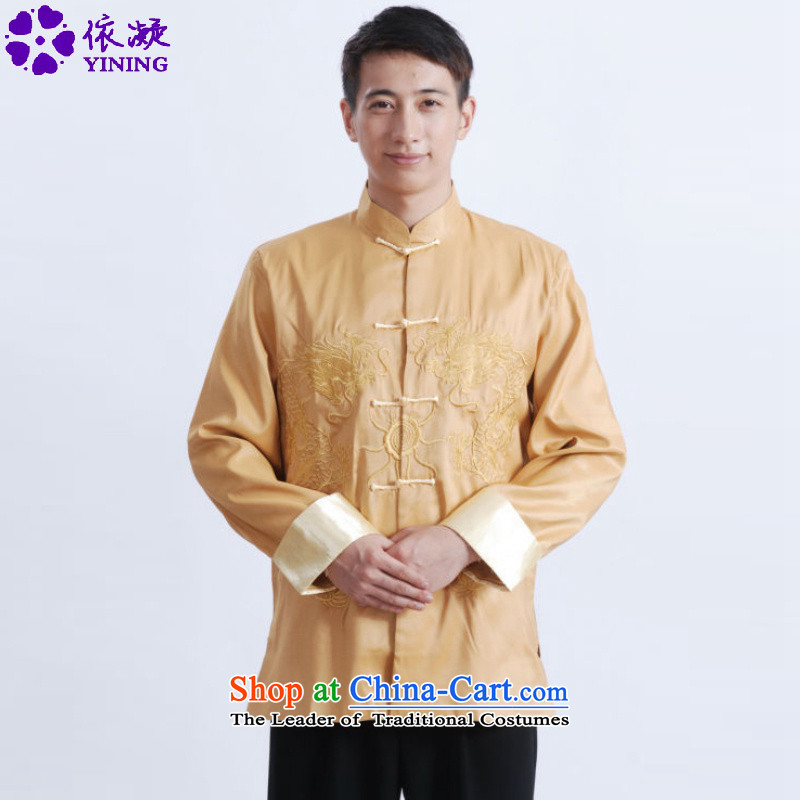 In accordance with the fuser retro national wind spring and autumn in new stylish older Chinese improved load father Tang jackets�Lgd/m1009#�Yellow�XL