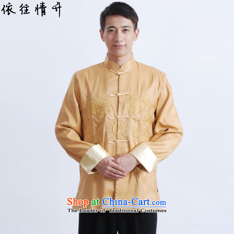 In accordance with the love of ethnic Chinese improvements in long-sleeved blouses Tang collar double dragon embroidered with Father Tang jackets燣GD_M1009_牋3XL yellow