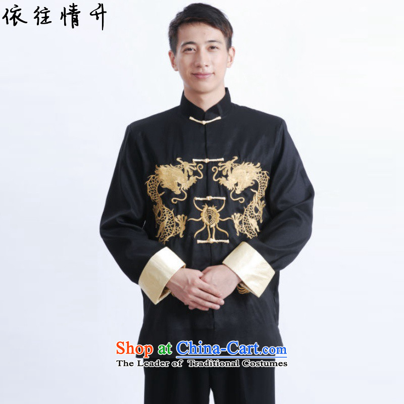 In accordance with the Love l Chinese improvement during the spring and autumn trendy new) Older Men's Mock-Neck Classic tray clip loaded father Tang jackets?LGD/M1011#?black?2XL