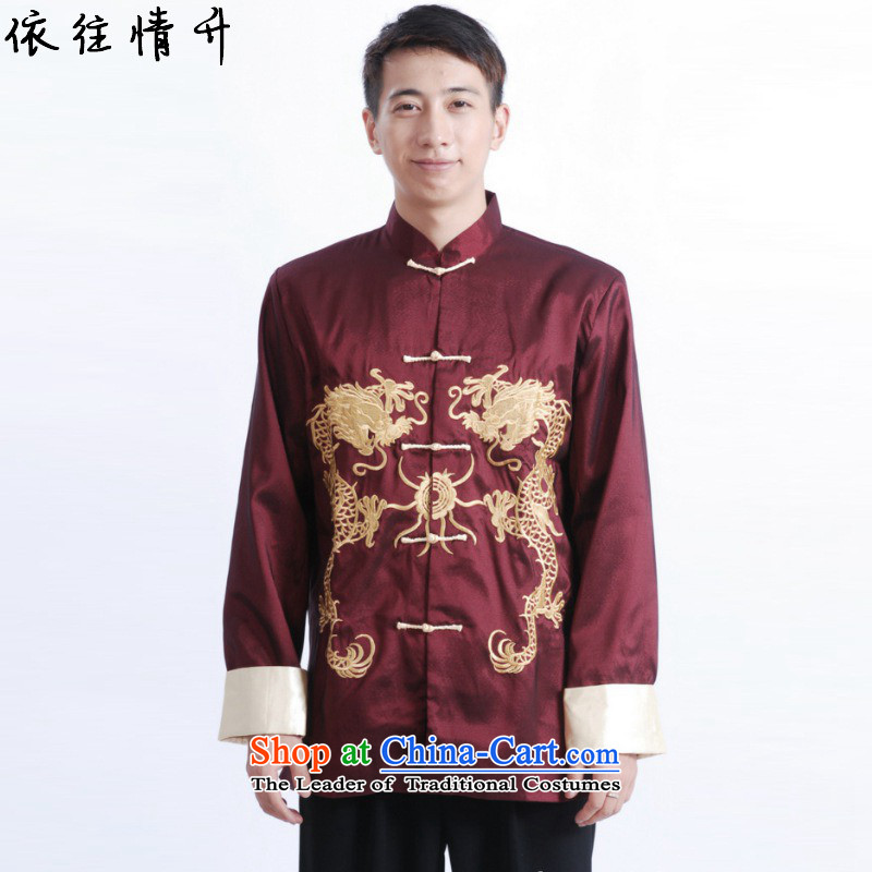 In accordance with the Love l Chinese men long-sleeved Tang improved blouses collar embroidered single row is older father replacing Tang jackets燣GD_M1013_爓ine red燣