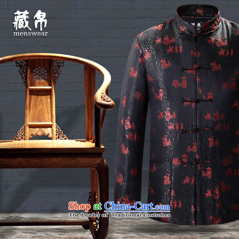 9The autumn and winter possession of Tang Dynasty cotton coat China wind loading large Chinese father grandfather code disk detained collar banquet black cotton 175/L 0753