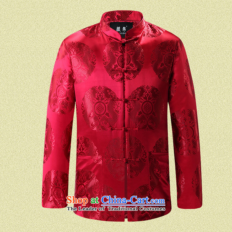 8D man in possession for autumn and winter Tang dynasty cotton coat China wind Chinese banquet dress gifts father grandpa pack mail red cotton 180_XL 0758