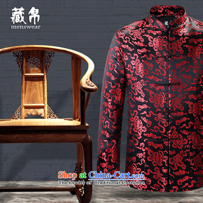 9The autumn and winter and possession of Tang Dynasty cotton coat in older banquet dress grandpa dad installed shou wedding China wind black�180/XL Nos. 0781